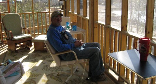 Wayne Boyd on his new back porch