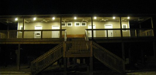 Lakeshore Bunk House at night